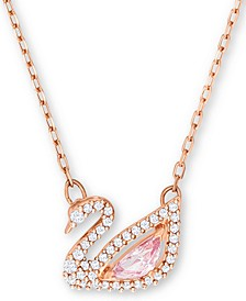 "Rose Gold-Tone Crystal Swan Pendant Necklace, 14-7/8"" + 2"" extender"