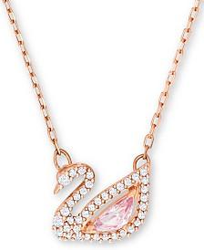 "Swarovski Rose Gold-Tone Crystal Swan Pendant Necklace, 14-7/8"" + 2"" extender"