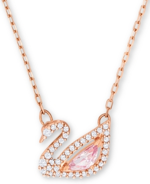 """Swarovski Accessories ROSE GOLD-TONE CRYSTAL SWAN PENDANT NECKLACE, 14-7/8"""" + 2"""" EXTENDER"""