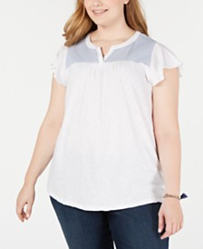 Style & Co Plus Size Cotton Woven-Yoke Top, Created for Macy's