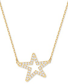 """Gold-Tone Pavé Star Pendant Necklace, 14-7/8"""" + 2"""" extender"""