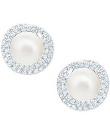 Silver-Tone Pavé & Imitation Pearl Stud Earrings