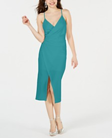 Betsey Johnson Draped Surplice Sheath Dress