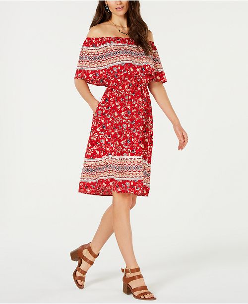Style & Co Off-The-Shoulder Printed Dress, Created for Macy's