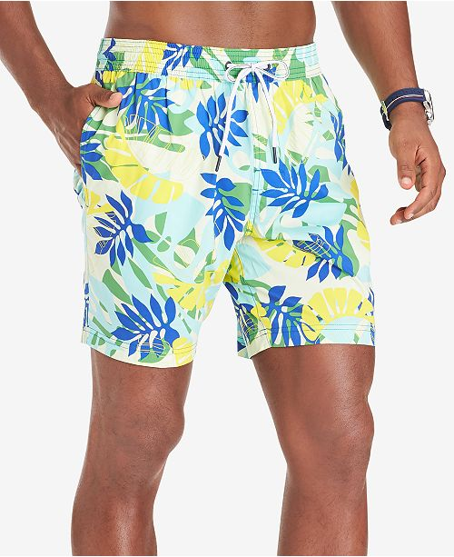 "Tommy Hilfiger Men's Leigh TH Flex Stretch Quick-Dry Palm-Print 6-1/2"" Swim Trunks"