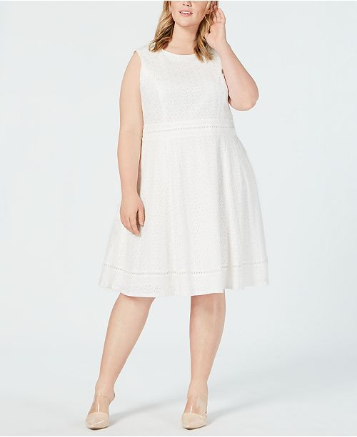 Calvin Klein Plus Size Eyelet Fit and Flare Dress