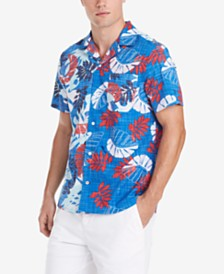 Tommy Hilfiger Men's Reid Custom-Fit Tropical-Print Camp Collar Shirt