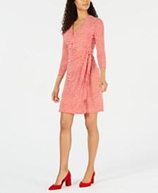 Anne Klein Dot-Print Faux-Wrap Dress