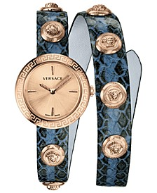 Women's Swiss Medusa Stud Icon Blue Leather Wrap Strap Watch 28mm