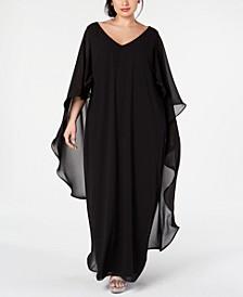 Plus Size Chiffon Cape Gown