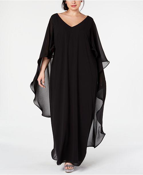 XSCAPE Plus Size Chiffon Cape Gown