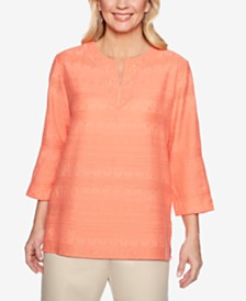 Alfred Dunner Martinique Textured Crochet-Neck Tunic