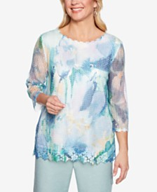 Alfred Dunner Monterey Printed Mesh Overlay Top