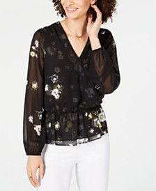 I.N.C. Petite Floral-Print Petite Wrap Blouse, Created for Macy's