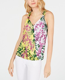 I.N.C. Printed Surplice Sleeveless Top, Created for Macy's