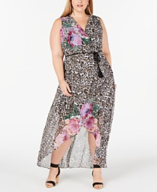 I.N.C. Plus Size Printed High-Low Maxi Dress, Created for Macy's