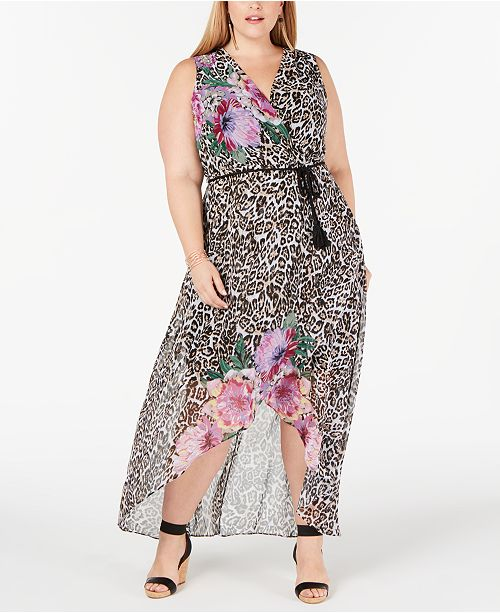 INC International Concepts INC Plus Size Printed High-Low Maxi Dress, Created for Macy's