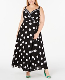 I.N.C. Plus Size Dot-Print Surplice Maxi Dress, Created for Macy's