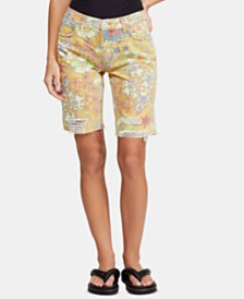 Free People Alani Printed Ripped Shorts