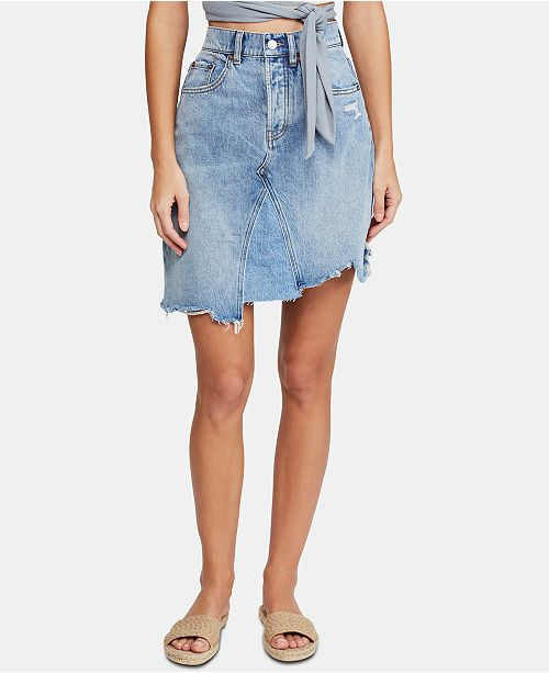 Free People Going Rogue Cotton Denim Skirt