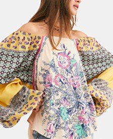 Free People Positano Printed Peasant Top