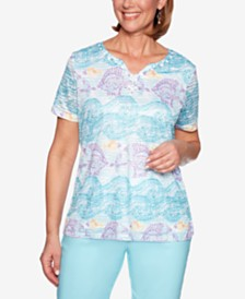 Alfred Dunner Catalina Island Printed Burnout-Texture Top