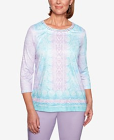 Alfred Dunner Catalina Island Printed Lattice-Trim Top
