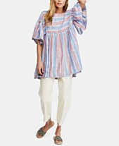 1088ac0bdd3b Free People Summer Nights Cotton Striped Wide-Sleeve Tunic