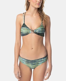 Vince Camuto Midnight Waves Printed Hardware Bikini Top & Midnight Waves Printed Bikini Bottoms