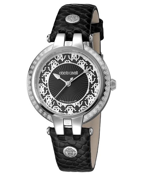 Roberto Cavalli By Franck Muller Women's Swiss Quartz Black Calfskin Leather Strap Black Dial Watch, 34mm