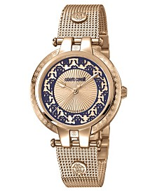 Roberto Cavalli By Franck Muller Women's Swiss Quartz Rose Gold Rose-Tone Stainless Steel Bracelet Watch, 34mm