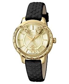 Roberto Cavalli By Franck Muller Women's Swiss Quartz Black Calfskin Leather Strap Gold Dial Watch, 34mm