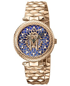 Roberto Cavalli By Franck Muller Women's Swiss Quartz Rose-Tone Stainless Steel Bracelet Blue Dial Watch, 34mm