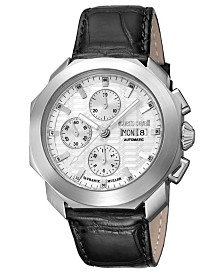 Roberto Cavalli By Franck Muller Men's Swiss Automatic Black Leather Strap Watch, 44mm