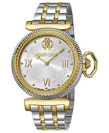 Roberto Cavalli By Franck Muller Women's Swiss Quartz Two-Tone Gold Stainless Steel Bracelet Watch, 38mm