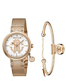 By Franck Muller Women's Swiss Quartz Rose-Tone Stainless Steel Watch & Bracelet Gift Set, 34mm