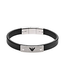 Men's Black Leather and Stainless Steel Logo Plate Bracelet