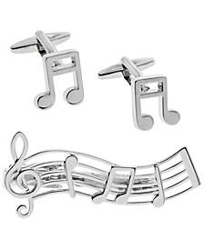 Sutton Music Note Cufflinks and Tie Clip Set