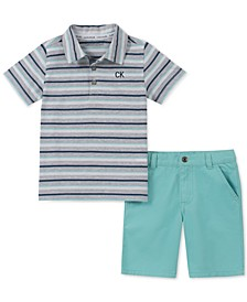 Baby Boys 2-Pc. Striped Polo Shirt & Twill Shorts Set