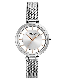 Kenneth Cole New York Ladies' Stainless Steel Mesh Bracelet with Transparent Dial, 34MM