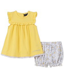 Calvin Klein Baby Girls 2-Pc. Pointelle Tunic & Floral-Print Bloomer Shorts Set