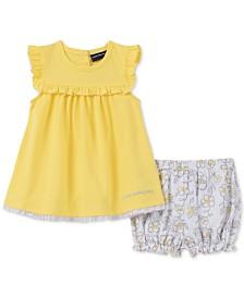 Calvin Klein Baby Girls 2-Pc. Pointelle Tunic & Floral-Print Bloomer Shorts Set