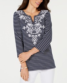 Charter Club Petite Cotton Embroidered Tunic, Created for Macy's
