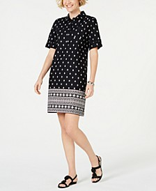 Petite Border-Print Shirtdress, Created for Macy's