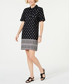 Karen Scott Petite Border-Print Shirtdress, Created for Macy's