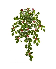 "27"" Variegated Holly Leaf with Berries Hanging Bush Artificial Plant (Set of 3) (Real Touch)"