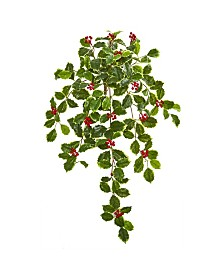 "Nearly Natural 27"" Variegated Holly Leaf with Berries Hanging Bush Artificial Plant (Set of 3) (Real Touch)"