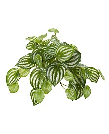 "Nearly Natural 11"" Watermelon Peperomia Hanging Artificial Bush Plant (Set of 12) (Real Touch)"