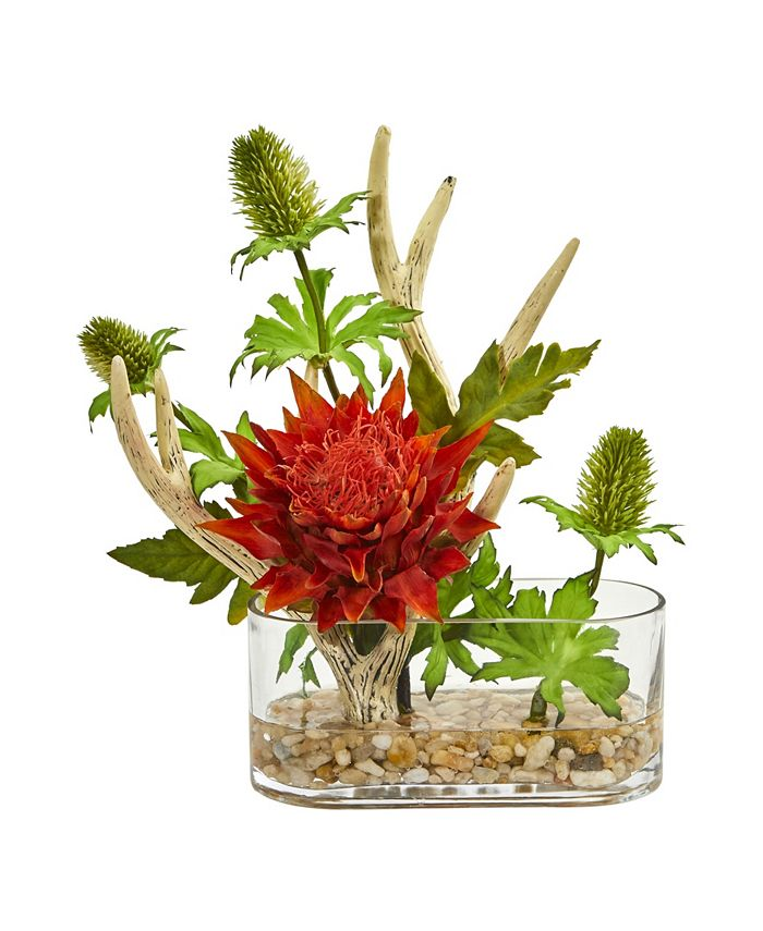 Nearly Natural - Tropical Flower and Antlers Artificial Arrangement