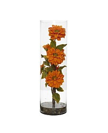 Nearly Natural Zinnia Artificial Arrangement in Cylinder Vase